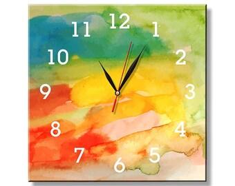 Glass clock, unique gift, unique wall clocks, large wall clock, wall decor, wall clock, colorful wall clock, gift clock, gift, G-010