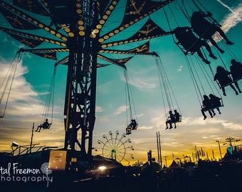 Carnival at Sunset Landscape Photography, Wall Art, Carnival Print, Ferris Wheel, Decor