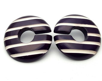 Dark Violet and White Striped Round Large Stud Earrings Vintage C shaped from the 90s