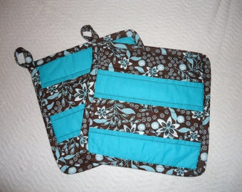 "Teal & Brown Quilted Potholders, 8.5"" square"