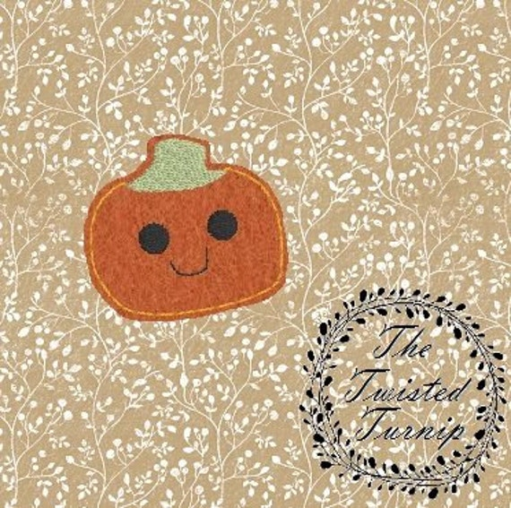 Cute Pumpkin Face Feltie Felt 4 Embroidery Design Mini Pumpkins Embroidery Designs Instant Download 4x4 Hoop by The Twisted Turnip