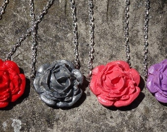 Polymer Clay Rose Necklace