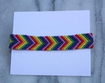 Chevron/Arrow Woven Rainbow Macrame Bracelet