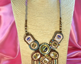 African necklace, african jewelry, bib necklace, statement necklace, ethnic necklace, tribal necklace, bib, leather necklace, slow fashion