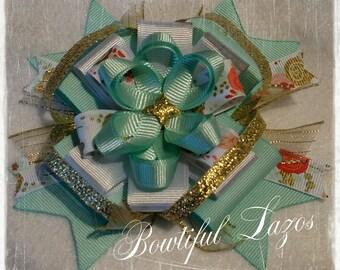 Mint and gold pinwheel hair bow