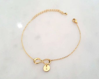 Dainty Infinity Bracelet with initial coin, Initial Bracelet, Initial coin bracelet,Bridesmaid Gift,birthday gift, Christmas gift,infinit