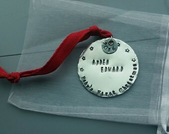 Personalized Baby's First Christmas Hand Stamped Ornament