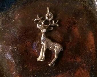 Vintage sterling buck deer reindeer charm pendant or keychain charm