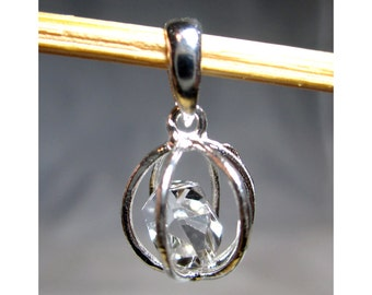 11 mm Caged Natural Herkimer Diamond Pendant - Sterling Silver - ADM317