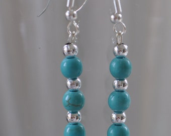 Turquoise earrings, turquoise and silver jewellery, drop earrings, dangle earrings, bead earrings, handmade by AnyaSophiaCo