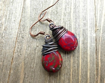 Copper Wire Wrapped Czech Glass Teardrops in red, blue and turquoise earrings.
