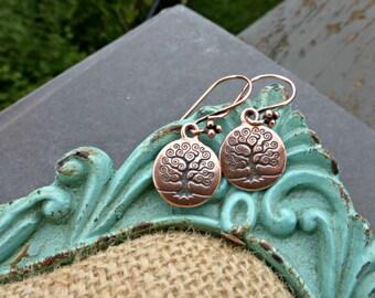 Copper tree of life earrings. Small lightweight earrings, jewelry.
