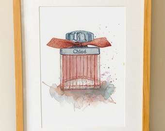 CHLOE Perfume - Fashion Art - Gifts for Her - Bathroom Art - Perfume Bottle - Vanity Wall Art - Watercolor Print