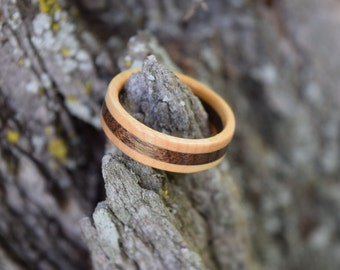 Maple-Walnut Wooden Ring for Men