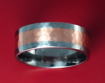Titanium Ring with Copper Inlay (Hammered Finish)-8MM Flat