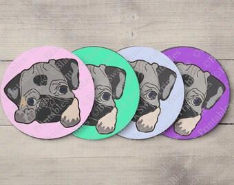 Pug Dog Digital Collage Sheet, Pug Art, Pug Print,  1.5 Inch Circles,  Printable Cupcake Toppers, Pug Cupcake Toppers, Pug Collage