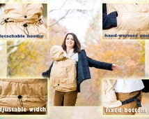 FREE SHIPPING/ Winter/ Autumn Tula Sling Wrap Baby Carrier Cover/ Hooded winter cover/ Beige Weather Cover