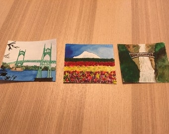 Watercolor print set, Portland Oregon