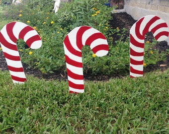 Set of 3 Wooden Candy Cane Yard Art, Christmas Decoration, Holiday Decoration