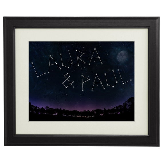 Starry Sky – Framed Picture with Personalisation  - Print with Names - Night Sky with Stars