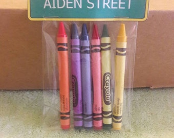 12 Sets of Personalized Sesame Street Sign birthday party crayon favors