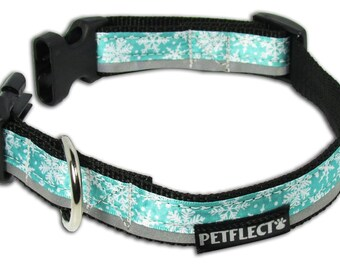 Snowflake on Turquoise Reflective Dog Collar