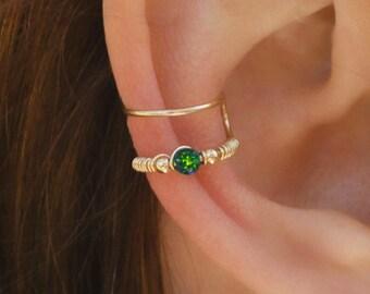 DOUBLE WRAP CUFF, Dark Green Opal Ear Cuff, Ear Cuff, Fake Piercing, No Piercing, Double Cuff, Cartilage Cuff, Cuff