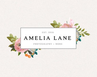 Floral Logo | Amelia Lane | Logo Design, Graphic Design, Custom Logo, Photography Logo, Logo for Small Business, Boutique Logo