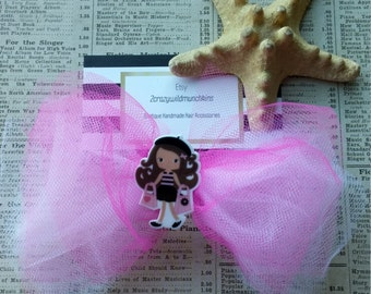 TulleHair Bow w/ French Girl, Pink Hair Bow, Hair Accessories, Birthday, Party Favors