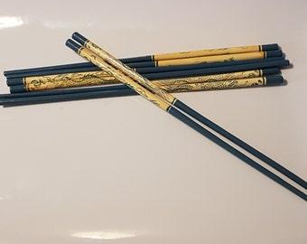 Blue Dragon design vintage wooden chopsticks x 1 pair