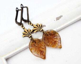 "Autumnal earrings ""Fleur de Leaf"" bronze brown"
