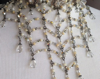Grand Crystal Spiderweb - Edwardian Crystal and Buttercream Choker Statement Bib Necklace Signed