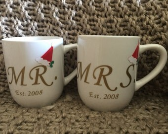 Mr and Mrs Christmas Coffee Mugs(customized with year)