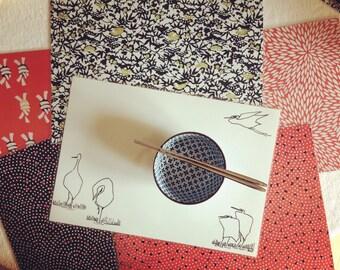 Japanese reversible placemat herons