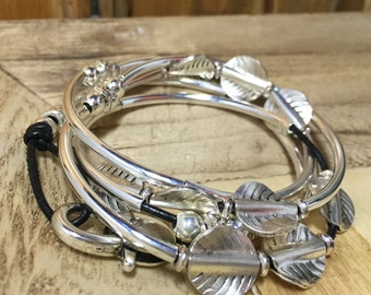 Sterling Silver and Silver Plated Wrap Bracelet & Necklace