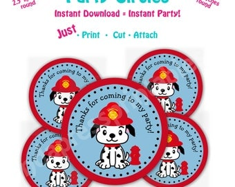 Fire Dog Birthday Party Favor Tags -- Instant Download -   Printable Fire Dog favor tags