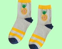 pineapple socks | men socks | women socks | cotton socks | casual socks | fruit socks | gift socks | cute socks | grey socks | stripe socks