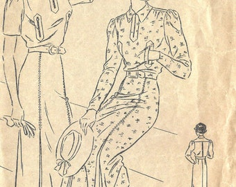 1930s Vintage VOGUE 7313 Sewing Pattern B36 One-Piece Dress Frock (1384)
