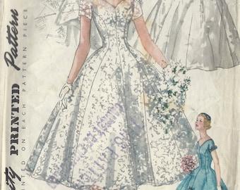 1955 Vintage Sewing Pattern B36 BRIDE, BRIDESMAID DRESS, Veil Headpiece (R961) Simplicity 1461