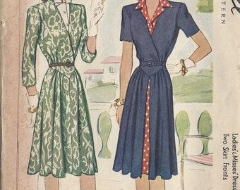 "1942 Vintage Sewing Pattern B30"" DRESS & VESTEE (62)  McCall 4815"