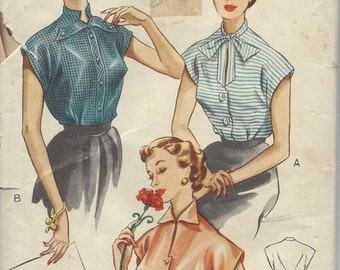 "1950s Vintage Sewing Pattern BLOUSE B36"" (1246) Economy Design E47"