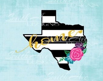 Striped Texas with Flowers SVG File,Striped States, Quote Cut File, Silhouette or Cricut File, Vinyl Cut File, .dxf .png .eps