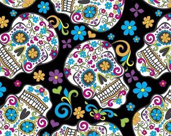 Folkloric Skulls Anti-Pill Fleece fabric by the yard/David Textiles/Free shipping available/skull fabric/halloween/fleece