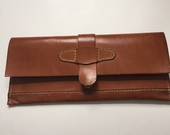 Vintage Leather clutch with back handle