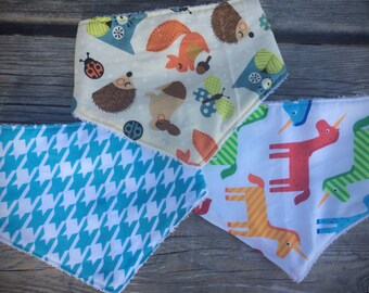 Baby bandana bib set, baby bib, drool bib, dribble bib, scarf bib, teething bib, cotton & terry towel bib, baby bandana scarf, bib
