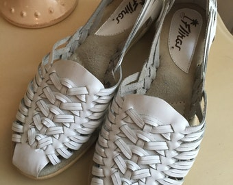 White Leather Flings huarache sandals