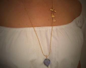 Gold Filled with Blue Crystal Necklace