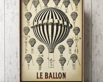 Hot air balloon poster art print, balloon room decor, ballooning wall art, old aviation, montgolfier print, Balloon flight poster,