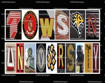 Towson University Tigers Framed Alphabet Photo Art