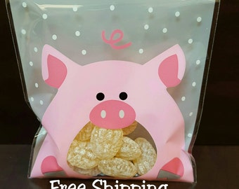 Piggy Treat Bags, free shipping - Set of 10.